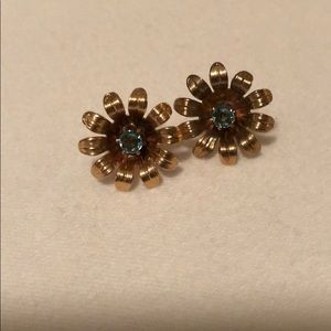 Jewelry - Vintage gold and aquamarine earrings